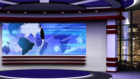 News TV Studio Set 315- Virtual Green Screen Background Loop Footage