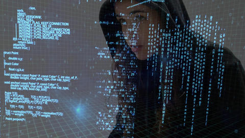 Female hacking wearing black sweater Animation
