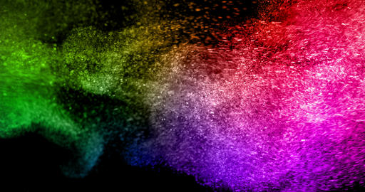 abstract real multicolor powder explosion on black background, slow Footage