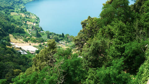 Nemi, a village near the Roman castles, province of Rome, famous for its lake Footage
