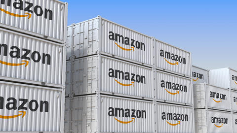 Container yard full of containers with logo of Amazon. Shipment, export or Live Action