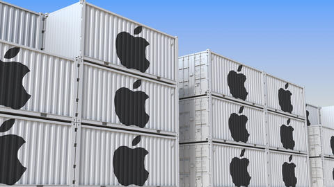 Container yard full of containers with logo of Apple Inc. Shipment, export or Live Action