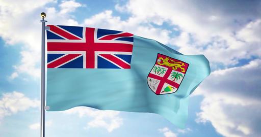 Fiji flag waving in the wind shows fijian symbol of patriotism - 4k 3d render Animation