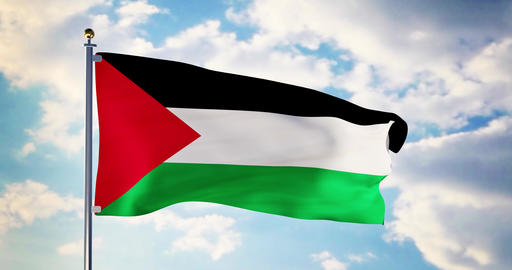 Palestinian flag waving in the wind shows Palestine symbol of patriotism - 4k 3d render Animation