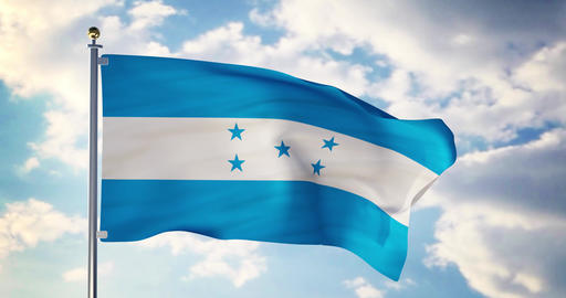 Honduras flag waving in the wind shows honduran symbol of patriotism - 4k 3d render Animation