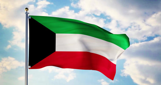 Kuwait flag waving in the wind shows Kuwaiti symbol of patriotism - 4k 3d render Animation