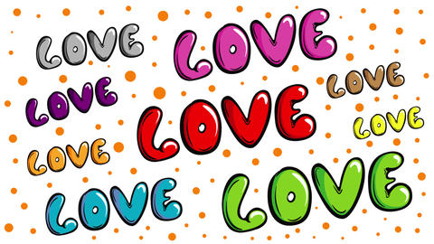 Colorful love words on white Animation