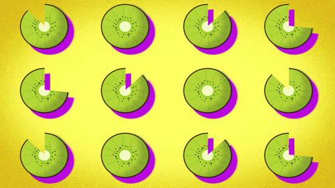 animated pattern of a kiwi ideal to represent the summer, summer fruit Live Action