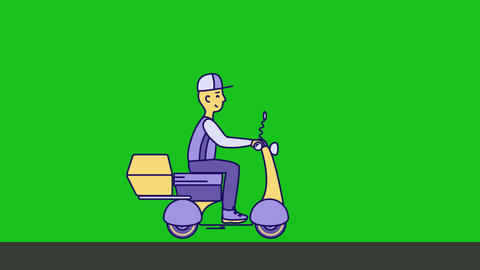 Delivery man rides on Scooter Motorbike Animation