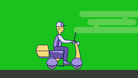 Delivery man rides on Scooter Motorbike, Stock Animation