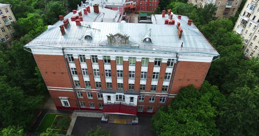 Aerial Moscow School Building Footage