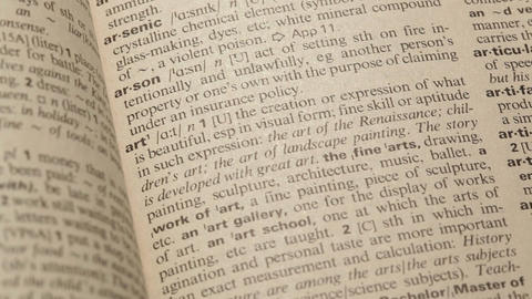 Finding word Art in the dictionary Footage