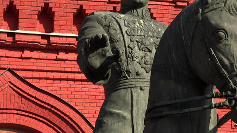 Monument to Marshal Zhukov in Moscow Footage