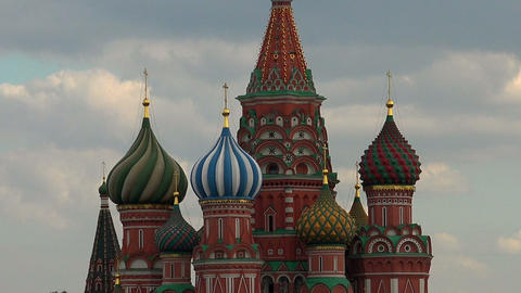 St. Basil's Cathedral on Red Square. Moscow Footage