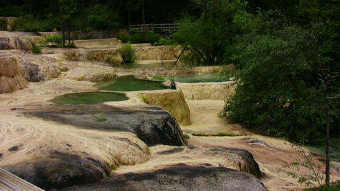 Colorful pools in Huanglong, China Footage