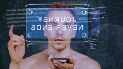 Guy interacts HUD hologram Journey never ends Live Action