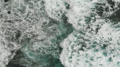 Aerial view. Very beautiful view of the Atlantic coast, aquamarine color of the Footage