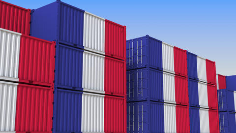Container yard full of containers with flag of France. French export or import Live Action