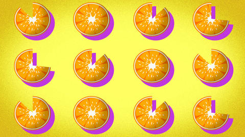 animated pattern of an orange ideal to represent the summer, summer fruit Live Action