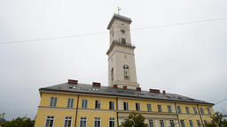 Closeup view of City hall at market square old town in Lviv, Ukraine Footage