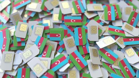Many SIM cards with flag of Azerbaijan. Azerbaijani mobile telecommunications ビデオ