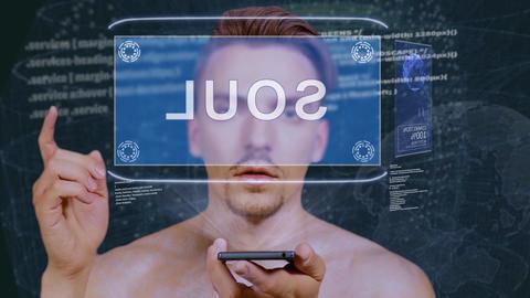 Guy interacts HUD hologram Soul Live Action