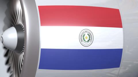 National flag of Paraguay on airplane tourbine engine. Aviation related 3D Footage