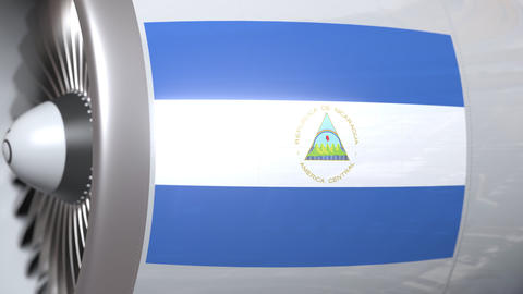 Waving flag of Nicaragua on airplane tourbine engine. Aviation related 3D Live Action