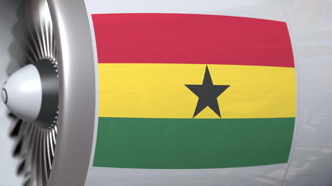 National flag of Ghana on airplane tourbine engine. Aviation related 3D Footage