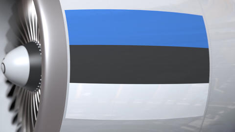 Waving flag of Estonia on airplane tourbine engine. Aviation related 3D Live Action