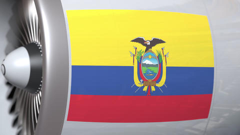 Flying flag of Ecuador on airliner tourbine engine. Aviation related 3D Live Action