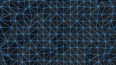 0926 Dark low poly displaced surface with blue glowing lines Footage