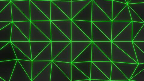 0932 Dark low poly displaced surface with green glowing lines Footage