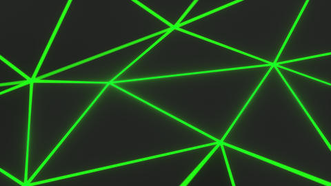 0934 Dark low poly displaced surface with green glowing lines Footage