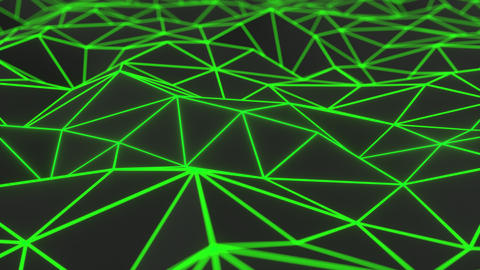0935 Dark low poly displaced surface with green glowing lines Footage