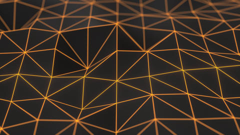 0943 Dark low poly displaced surface with orange glowing lines Footage