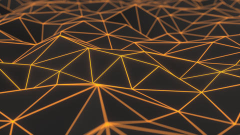 0945 Dark low poly displaced surface with orange glowing lines Footage