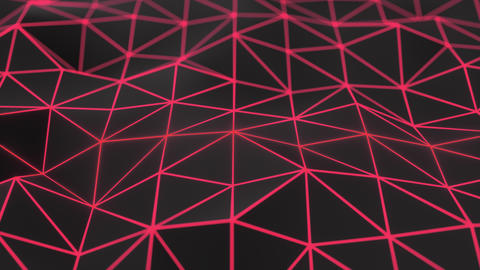 0953 Dark low poly displaced surface with red glowing lines Footage