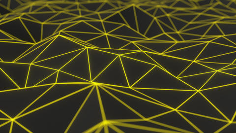 0960 Dark low poly displaced surface with yellow glowing lines Footage