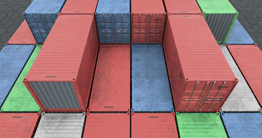 Drone angle view of cargo shipping container stacks Animation
