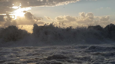 Fierce seashore with stormy waves in the Black Sea in a dark day in slo-mo Live Action