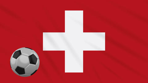 Switzerland flag waving and football rotates, loop Animation