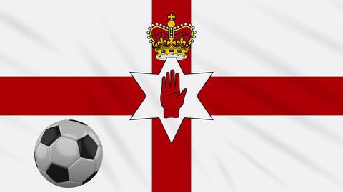 Northern Ireland flag and football rotates, loop Animation