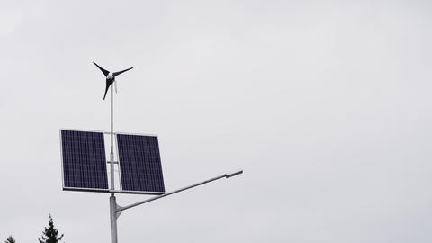 Solar panels and a small wind turbine for the production of environmentally Footage