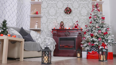 Beautiful room decorated with Christmas ornaments Footage