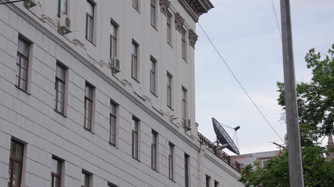 Satellite Antenna On The Building Live Action
