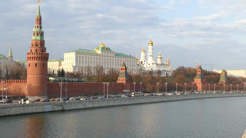 Kremlin Moscow with the river Footage