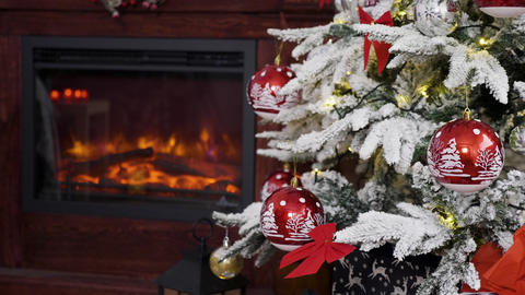 Beautiful fireplace and Christmas decorated tree Footage