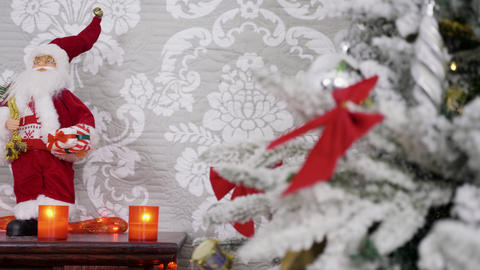 Different Christmas decorations on a fireplace Footage