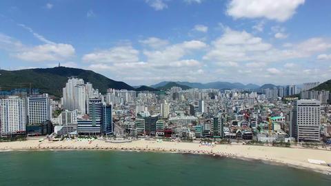 Aeril View of Sunny Summer Gwangalli Beach, Busan, South Korea, Asia Footage